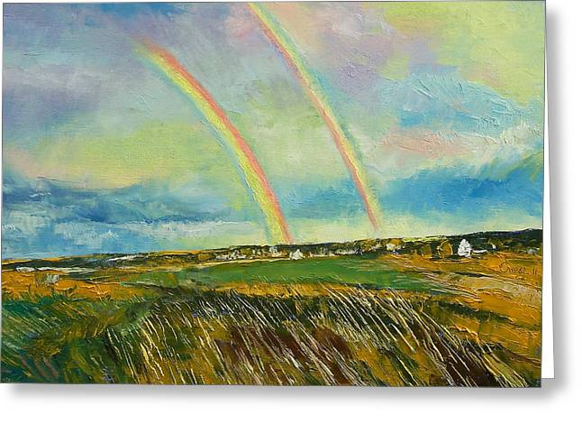 Scotland Double Rainbow Greeting Card by Michael Creese