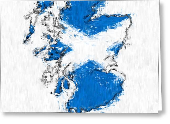 Scotland Painted Flag Map Greeting Card by Antony McAulay