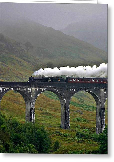 Scotland Steam Train And Bridge Greeting Card by Henry Kowalski