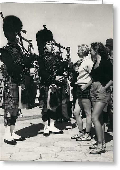 Scots Guards Entertained In Le Tourquet - And Do A Bit Of Greeting Card by Retro Images Archive