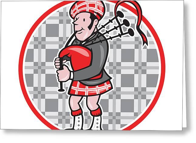 Scotsman Bagpiper Playing Bagpipes Cartoon Greeting Card