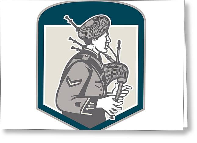 Scotsman Bagpiper Playing Bagpipes Crest Retro Greeting Card