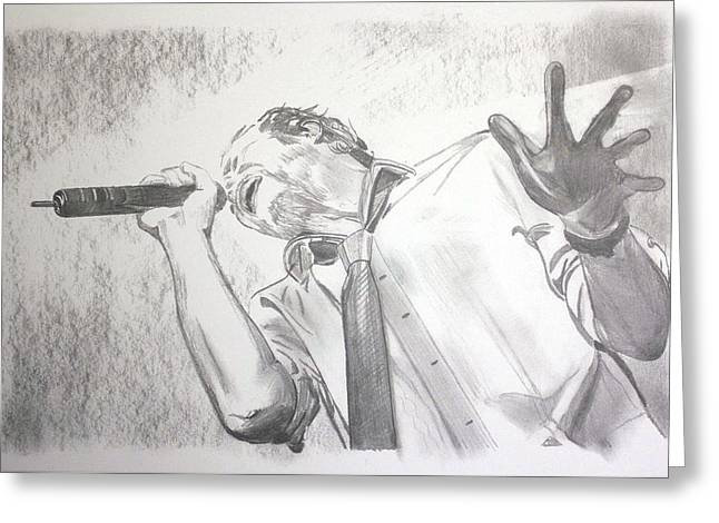 Scott Weiland Greeting Card by Charlotte NC Artist Phil Robinson