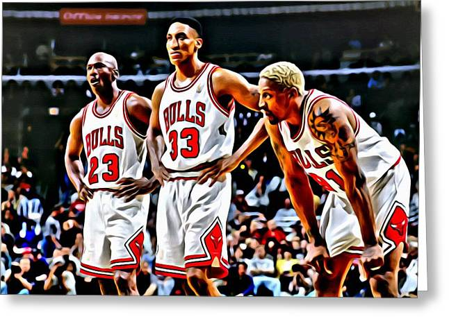 Greeting Card featuring the painting Scottie Pippen With Michael Jordan And Dennis Rodman by Florian Rodarte