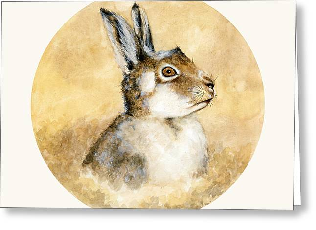 Scottish Hare Greeting Card by Nathalie Amber