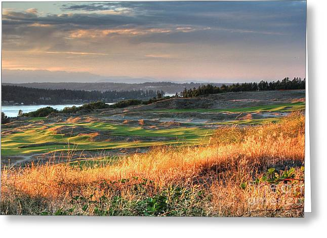 Greeting Card featuring the photograph Scottish Style Links In September - Chambers Bay Golf Course by Chris Anderson