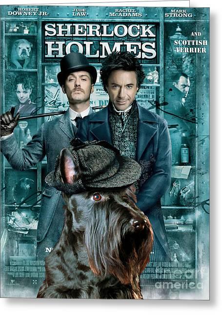 Scottish Terrier Art Canvas Print - Sherlock Holmes Movie Poster Greeting Card by Sandra Sij