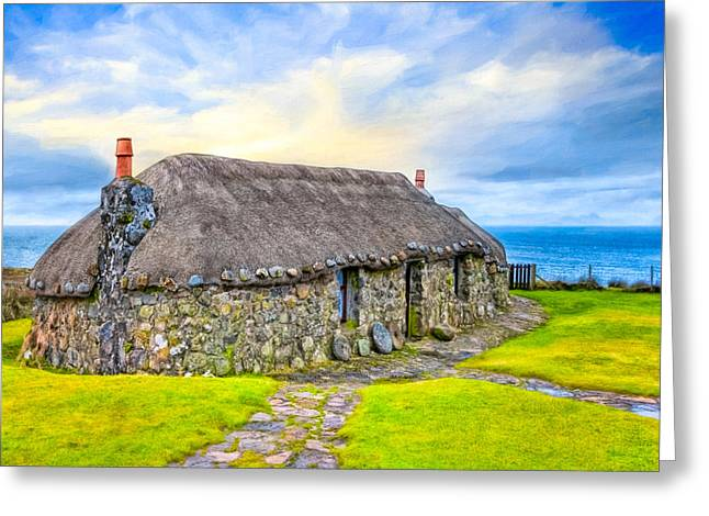Scottish Thatched Cottage On Skye Greeting Card by Mark E Tisdale
