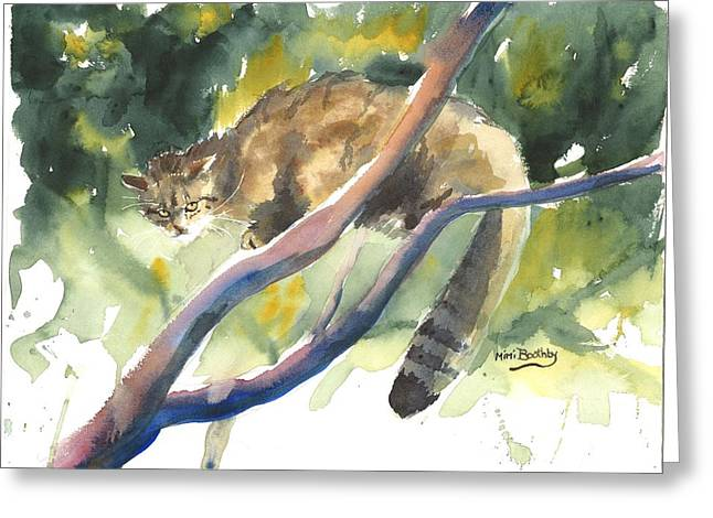 Scottish Wild Cat In A Tree Greeting Card