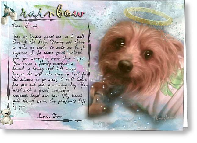 Scout In Rainbow Bridge Greeting Card by Kathy Tarochione