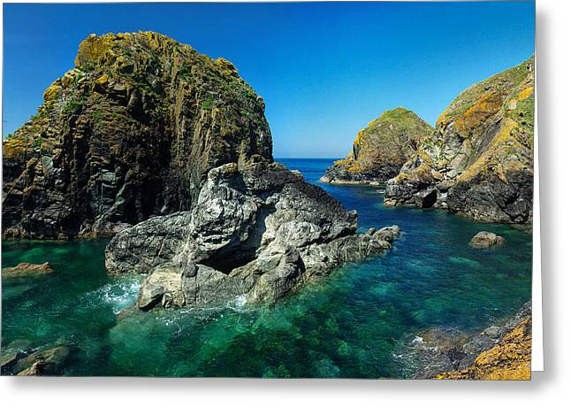 Scovarn Rock At Mullion Greeting Card by Pete Hemington