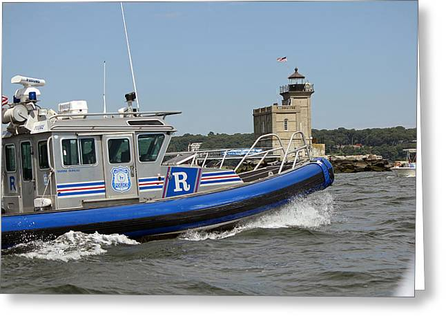 Scpd Boat @ Huntington Lighthouse Greeting Card