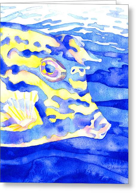 Scrawled Cowfish Portrait Greeting Card