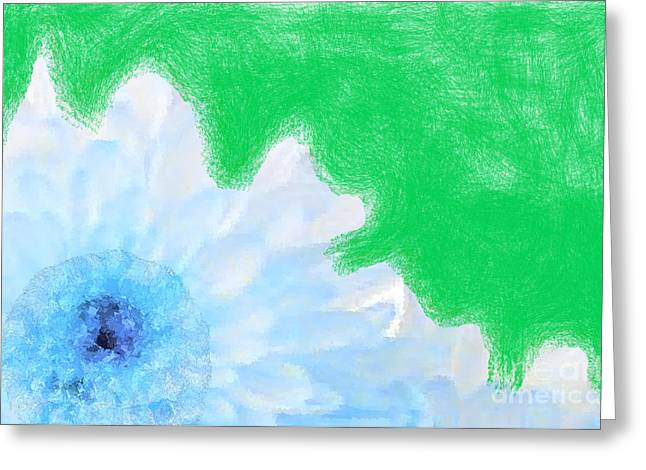 Scream And Shout Blue White Green Greeting Card by Holley Jacobs