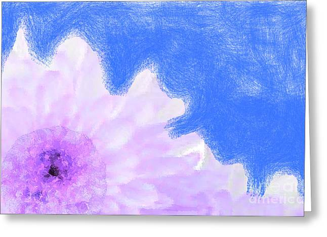 Scream And Shout Purple White Blue Greeting Card by Holley Jacobs