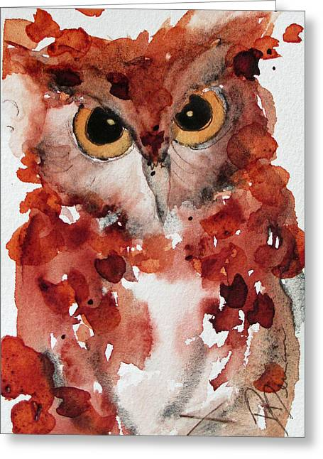 Screech Greeting Card by Dawn Derman