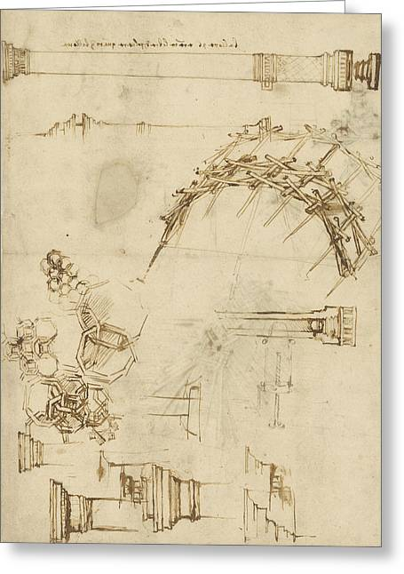 Screw Breech Bombard Decorative Geometrical Drawings Framework Of Self Supporting Military Bridge  Greeting Card