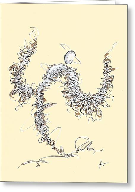 Scribble Angel 1 Greeting Card
