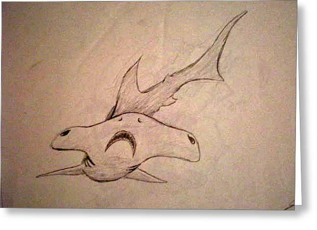 Scribble Shark Greeting Card by Steve Spagnola
