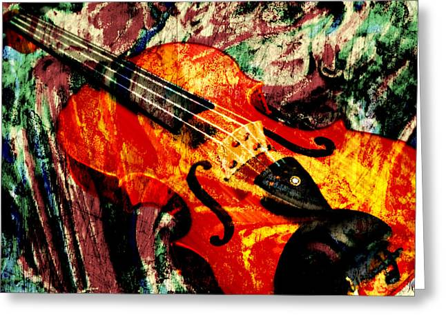 Greeting Card featuring the mixed media Scribbled Fiddle by Ally  White