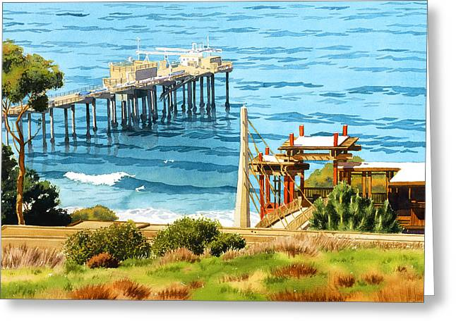 Scripps Pier La Jolla Greeting Card by Mary Helmreich