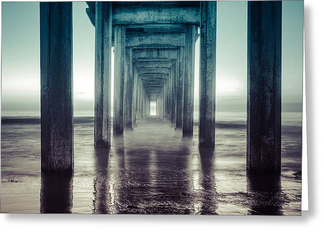 Scripps Pier Greeting Card by Sonny Marcyan