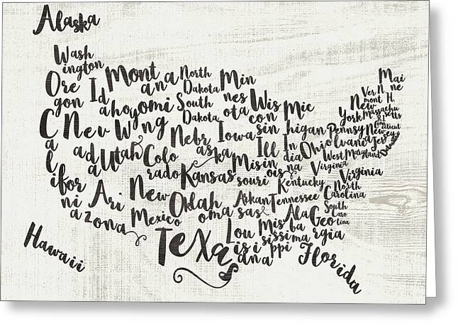 Scripted Map Greeting Card