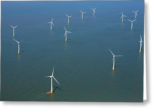 Scroby Sands Windfarm Greeting Card by Victor De Schwanberg