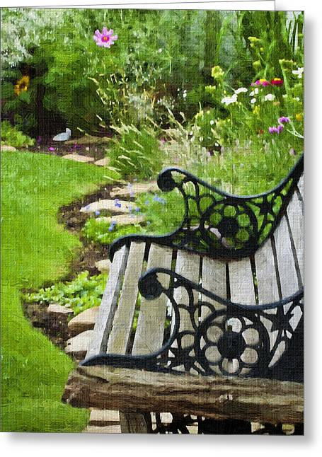 Scroll Bench Garden Scene Digital Artwork Greeting Card