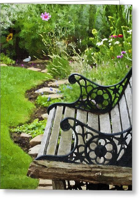 Scroll Bench Garden Scene Digital Artwork Greeting Card by Sandra Foster