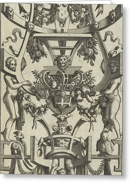 Scrolling With A Fruit Basket In The Middle Greeting Card by Anonymous And Cornelis Bos