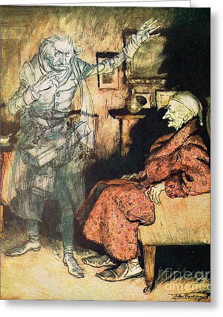 Scrooge And The Ghost Of Marley Greeting Card by Arthur Rackham