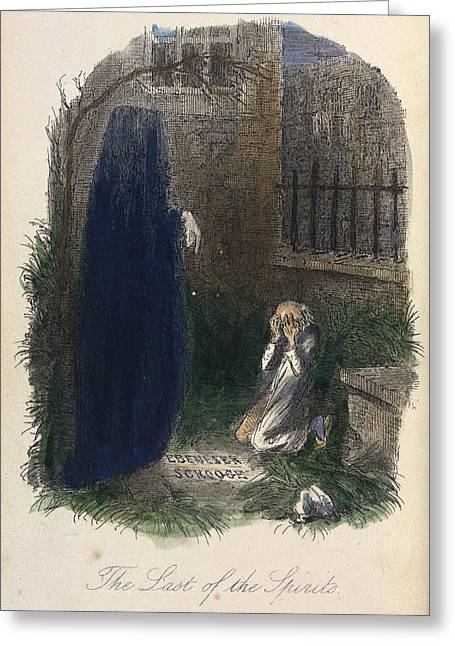 Scrooge Visited By The Last Ghost Greeting Card by British Library
