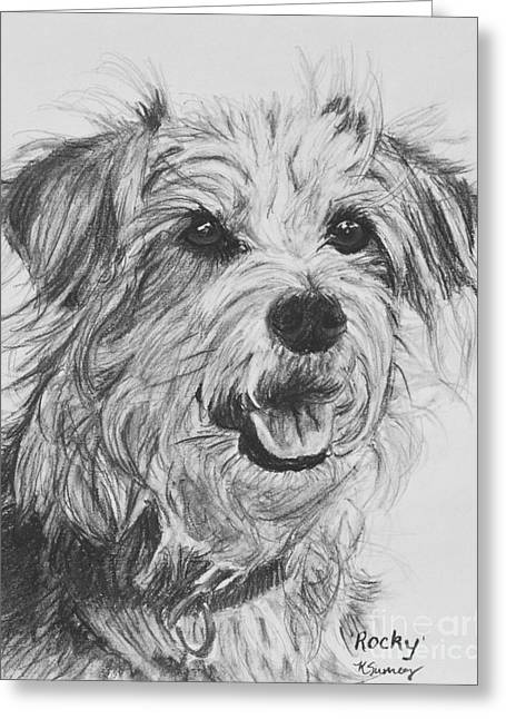 Scruffy Terrier Dog Drawing Greeting Card