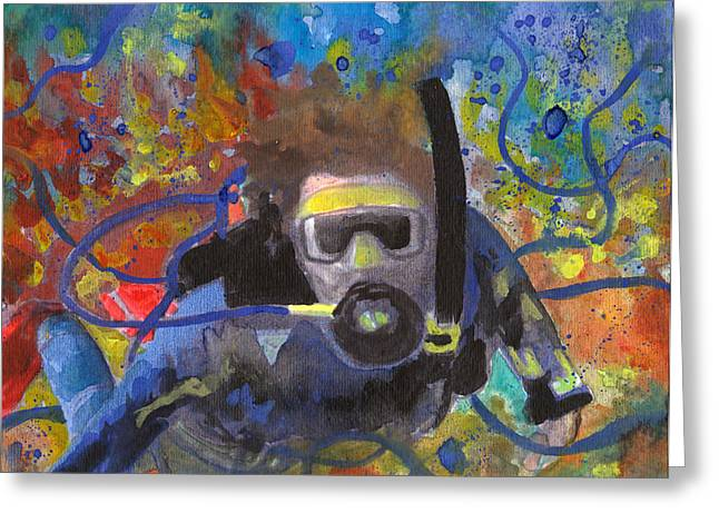 Scuba Diver Tangled Greeting Card by Susan Powell