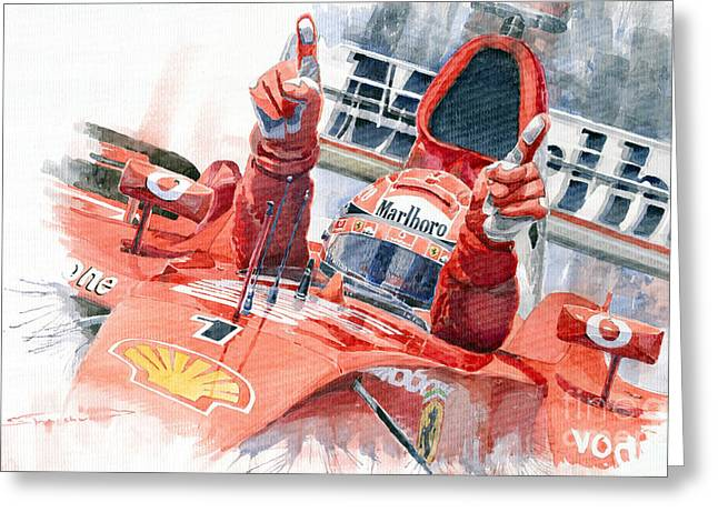 2001 Scuderia Ferrari Marlboro F 2001 Ferrari 050 M Schumacher  Greeting Card by Yuriy  Shevchuk