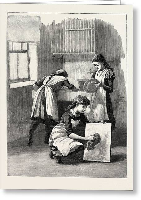 Scullery Work, Washing Up, School, London Greeting Card