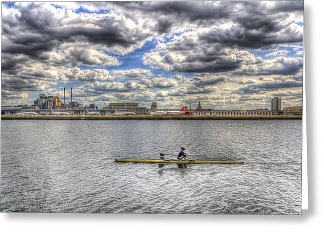 Sculling At London City Airport Greeting Card