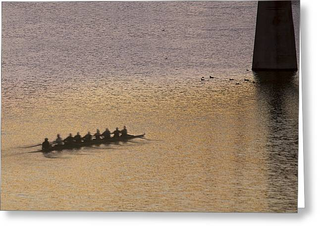 Sculling On Ladybird In Austin Texas Greeting Card