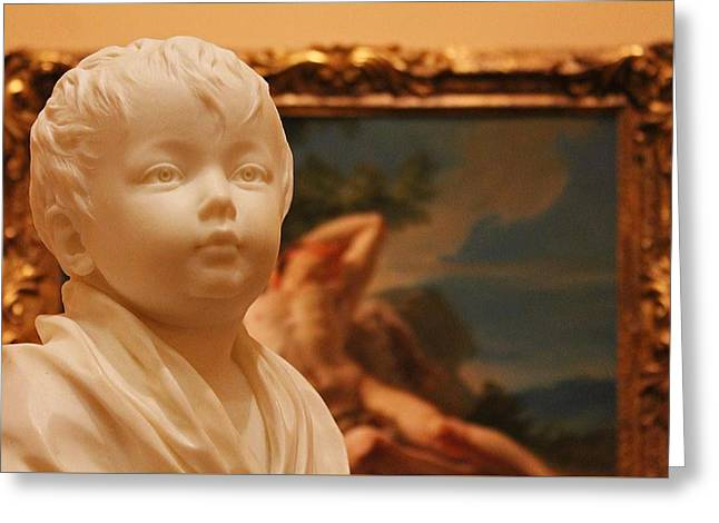 Sculpted Child In Museum 2 Greeting Card by Michael Saunders