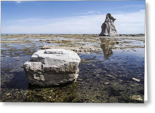 Greeting Card featuring the photograph Sculpted Rock On Naked Isld by Arkady Kunysz