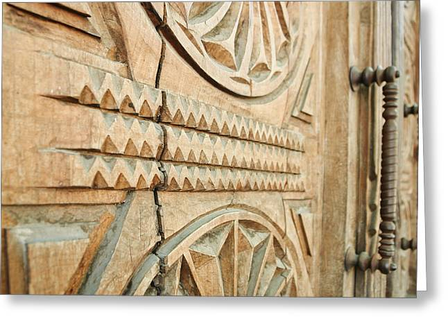 Sculpted Wooden Door Greeting Card