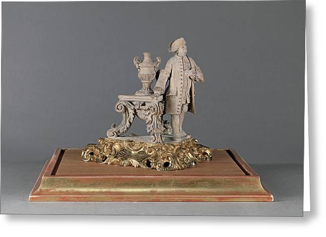 Sculpture, Figure Of The Artists Father Engraved On Gilded Greeting Card by Litz Collection