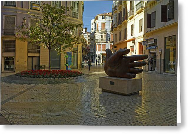Sculpture In Old Town, Malaga, Malaga Greeting Card
