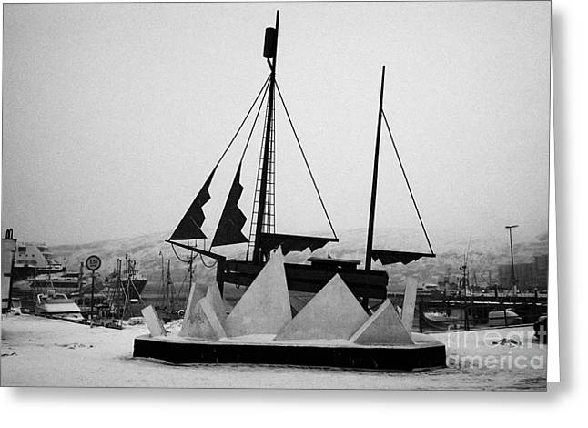 Sculpture Of A Sailing Ship In Ice Pack In Hammerfest Harbour In Winter Finnmark Norway Europe Greeting Card by Joe Fox