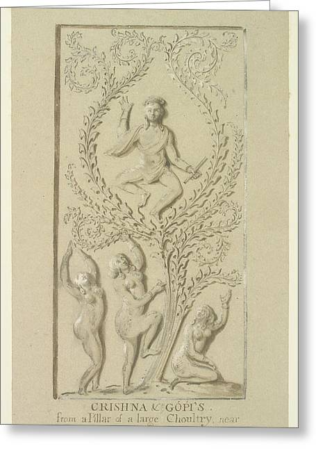 Sculpture Of Krishna Greeting Card by British Library
