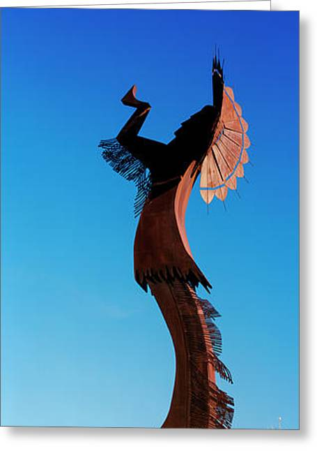 Sculpture Of The Keeper Of The Plains Greeting Card by Panoramic Images