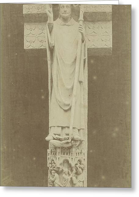Sculpture Sacred Firminus In Amiens France Greeting Card by Artokoloro