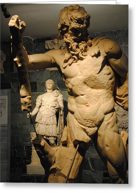 Sculpture Through Sculpture -  Zeus And Trajan  Greeting Card by Jacqueline M Lewis