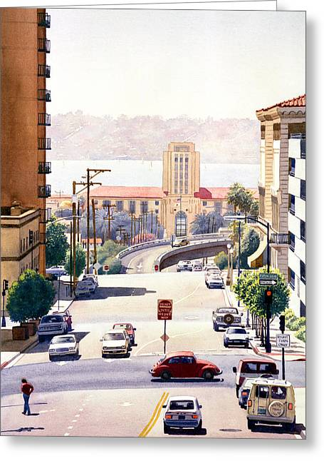 Sd County Administration Building Greeting Card by Mary Helmreich